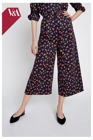 V&A Poppy Print Wide Leg Trousers