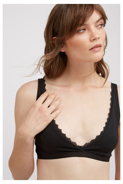 Lace Trim Triangle Bra In Black