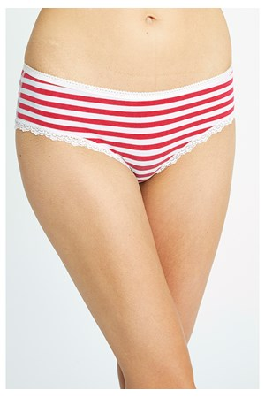 Stripe Lace Hipster in Red and White