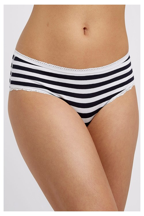 Stripe Lace Hipster in White and Navy