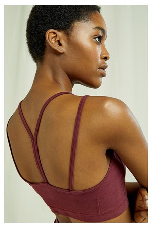 Yoga Y-back Crop Top In Burgundy